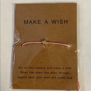 Make A Wish Bracelet, pink with gold star